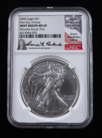 Mint Error - Anna Escobedo Cabral Signed 2020 American Silver Eagle $1 One Dollar Coin - First Day of Issue, Obverse Struck Through (NGC MS69) at PristineAuction.com