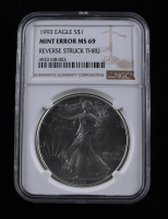 Mint Error - 1993 American Silver Eagle $1 One Dollar Coin - Reverse Struck Thru (NGC MS69) at PristineAuction.com