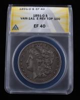 1891-O Morgan Silver Dollar, VAM-1A1 E Rev Top 100 (ANACS XF40) at PristineAuction.com