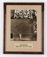 """Willie Mays Signed """"The Catch"""" 15.5x19.5 Custom Framed Display (Beckett LOA) at PristineAuction.com"""