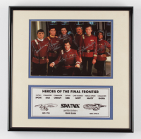 Star Trek Heroes of the Final Frontier 16x16 Custom Framed Display Cast-Signed by (7) with William Shatner, George Takei, DeForest Kelley, Leonard Nimoy (Beckett LOA) at PristineAuction.com