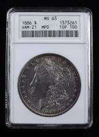 1886 Morgan Silver Dollar, VAM-21 MPD Top 100 (ANACS MS63) at PristineAuction.com
