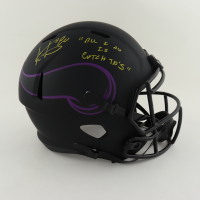 """Cris Carter Signed Vikings Full-Size Eclipse Alternate Speed Helmet Inscribed """"All I Do Is Catch TD's"""" (Schwartz Sports COA) at PristineAuction.com"""