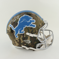 """Barry Sanders Signed Lions Full-Size Camo Alternate Speed Helmet Inscribed """"HOF-04"""" & """"The Lion King"""" (Schwartz Sports COA) at PristineAuction.com"""