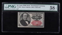 1874 25¢ Twenty-Five Cents United States Fractional Bank Note (Fr #1309) (Fifth Issue) (PMG 58 EPQ) at PristineAuction.com