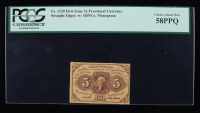 1862 5¢ Five Cents United States Fractional Bank Note (Fr #1230) (First Issue) (PCGS 58PPQ) at PristineAuction.com