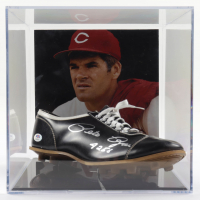"""Pete Rose Signed Baseball Cleat Inscribed """"4256"""" with Photo Display Case (PSA COA) at PristineAuction.com"""