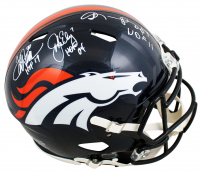 "John Elway, Shannon Sharpe & Terrell Davis Signed Broncos Full-Size Authentic On-Field Speed Helmet Inscribed ""HOF 04"", ""HOF 11"", & ""HOF 17"" (Beckett Hologram) at PristineAuction.com"