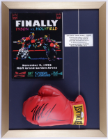 Mike Tyson Signed 17x22 Custom Framed Boxing Glove Display with Original Tyson vs Holyfield Fight Program including LeRoy Neiman Art Cover (PSA COA) (See Description) at PristineAuction.com