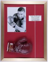 Mike Tyson Signed 17x22 Custom Framed Vintage Jack Dempsey Leather Everlast Boxing Glove Display (PSA COA) ( See Description) at PristineAuction.com