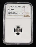 1897 Guatemala 1/4 Real Silver Coin (NGC MS66+) at PristineAuction.com