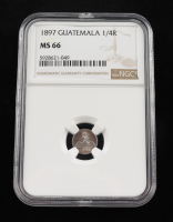 1897 Guatemala 1/4 Real Silver Coin (NGC MS66) at PristineAuction.com