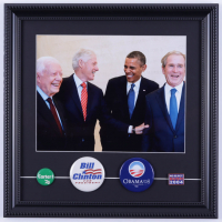 U.S. Presidents 14x15 Custom Framed Photo Display with (4) Original Vintage Presidential Campaign Pins at PristineAuction.com