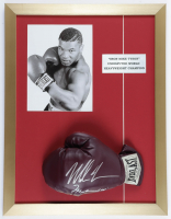 Mike Tyson Signed 17x22 Custom Framed Vintage Leather Everlast Boxing Glove Display with Photo of Mike Tyson (PSA COA) at PristineAuction.com