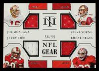 2020 Panini National Treasures NFL Gear Quad Materials #15 Jerry Rice / Joe Montana / Roger Craig / Steve Young #56/99 at PristineAuction.com