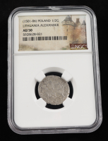 Alexander I (1501-1506) Lithuania 1/2 Groschen Medieval Silver Coin (NGC AU50) at PristineAuction.com