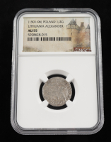 Alexander I (1501-1506) Lithuania 1/2 Groschen Medieval Silver Coin (NGC AU55) at PristineAuction.com
