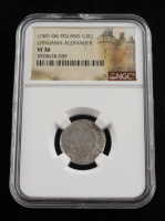 Alexander I (1501-1506) Lithuania 1/2 Groschen Medieval Silver Coin (NGC VF30) at PristineAuction.com