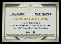 Will Clark / Mark McGwire 2021 Topps Definitive Collection Dual Autographs #DACCMC #26/35 at PristineAuction.com