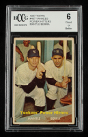 Mickey Mantle / Yogi Berra 1957 Topps #407 Yankees Power Hitters (BCCG 6) at PristineAuction.com