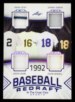 2020 ITG Used Sports Baseball Redraft Quad Memorabilia Purple Spectrum #BBR03 Derek Jeter / Jason Giambi / Johnny Damon / Jason Kendall #12/12 at PristineAuction.com