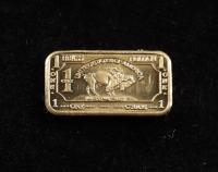 1 Gram .999 Fine Brass Buffalo Bullion Bar at PristineAuction.com