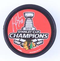 Brandon Saad Signed 2013 Chicago Blackhawks Stanley Cup Logo Hockey Puck (Saad Hologram & YSMS Hologram) at PristineAuction.com