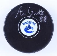 Adam Gaudette Signed Canucks Logo Hockey Puck (Gaudette Hologram & YSMS Hologram) at PristineAuction.com