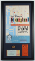 """Walt Disneyland """"Opening Dedication Ceremony"""" 15x26 Custom Framed Print Display With Vintage Ticket Book, Parking Pass & 1955 Brass Pin at PristineAuction.com"""