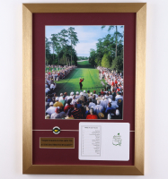 2005 Masters Champion 15x21 Custom Framed Photo Display with (1) Augusta National Golf Club Scorecard & (1) Lapel Pin at PristineAuction.com