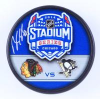 Brandon Saad Signed Blackhawks 2014 Stadium Series Hockey Puck (Saad COA & YSMS Hologram) at PristineAuction.com