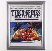 """Mike Tyson & Mike Spinks Dual Signed Leroy Neiman """"Mike Tyson vs Michael Spinks"""" 16x19 Custom Framed Print Display (JSA COA) at PristineAuction.com"""
