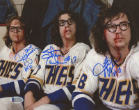 "David Hanson, Steve Carlson, & Jeff Carlson Signed ""Slapshot"" 8x10 Photo (Beckett COA) at PristineAuction.com"