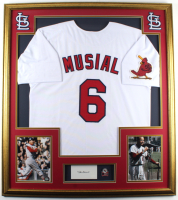 Stan Musial Signed 33x37 Custom Framed Cut Display With Jersey & World Series Pin (JSA COA) at PristineAuction.com