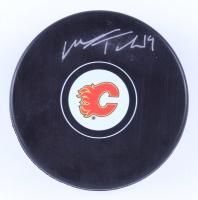 Matthew Tkachuk Signed Flames Logo Hockey Puck (Tkachuk COA & YSMS Hologram) at PristineAuction.com