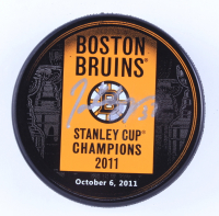 Patrice Bergeron Signed 2011 Bruins Stanley Cup Champions Logo Hockey Puck (Bergeron COA & YSMS Hologram) (See Description) at PristineAuction.com