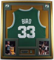 Larry Bird Signed Celtics 32x36 Custom Framed Jersey Display with Celtics Pin (PSA COA & Bird Hologram) at PristineAuction.com