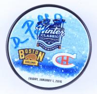 David Pastrnak Signed 2016 Winter Classic Logo Hockey Puck (Pastrnak COA & YSMS Hologram) at PristineAuction.com