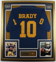 Tom Brady 32x36 Custom Framed Jersey with Vintage Michigan Wolverines Lapel Pin at PristineAuction.com