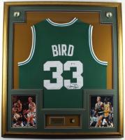 Larry Bird Signed Celtics 32x36 Custom Framed Jersey Display with Bird Pin (PSA COA) at PristineAuction.com