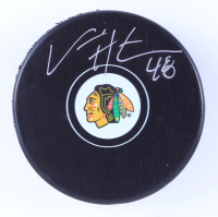 Vinnie Hinostroza Signed Blackhawks Logo Hockey Puck (Hinostroza Hologram & YSMS Hologram) at PristineAuction.com