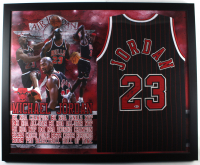 Michael Jordan Signed 35x44 Custom Framed Jersey Display (Beckett LOA) at PristineAuction.com