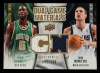Dirk Nowitzki / Kevin Garnett 2009-10 Upper Deck Game Materials Dual Gold #DGGN #142/150 at PristineAuction.com