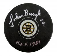 "John Bucyk Signed Bruins Logo Hockey Puck Inscribed ""H.O.F. 1981"" (PSA COA) at PristineAuction.com"