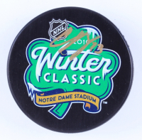 Charlie McAvoy Signed 2019 Winter Classic Logo Hockey Puck (McAvoy COA & YSMS Hologram) at PristineAuction.com
