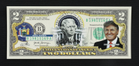 Donald Trump Genuine Legal Tender U.S. $2 Two Dollar Bill Commemorative Bank Note with Display Folder at PristineAuction.com