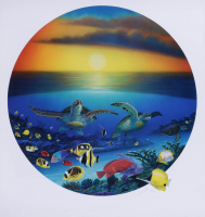 """Wyland Signed """"Sea Turtle Reef"""" 25x28 Lithograph (See Description) at PristineAuction.com"""
