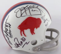 Bills Throwback Mini Helmet Signed By (8) with Paul Seymour, Jim Kelly, Andre Reed, Marv Levy, with Multiple Incsriptions (Beckett LOA) at PristineAuction.com