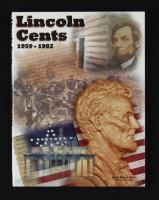 1959-1982 Lincoln Penny Coin Collection Book with (52) Coins & Display Folder (See Description) at PristineAuction.com