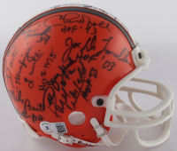 Browns Mini Helmet Signed By (19) with Chuck Noll, Jerry Sherk, Paul Warfield, Kevin Mack, Joe DeLamielleure with Multiple Incsriptions (Beckett LOA) (See Description) at PristineAuction.com